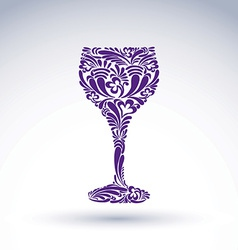 Creative goblet with floral ethnic tracery vector