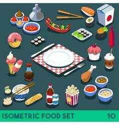 Diet set 10 food isometric vector