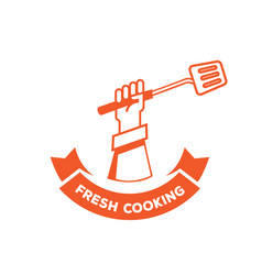 fresh cooking logo with hand hold turner vector image vector image