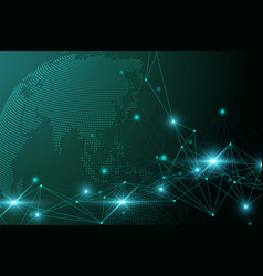 Global network connection network and big data vector