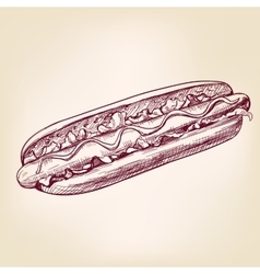hot dog fast foodhand drawn vector image vector image