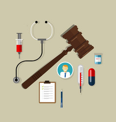 law wooden hammer gavel justice legal authority vector image vector image