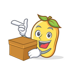 Mango character cartoon mascot with box vector