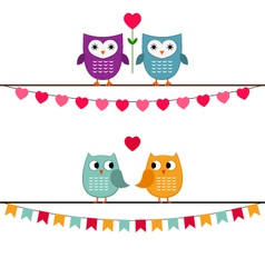 Owl couples set vector