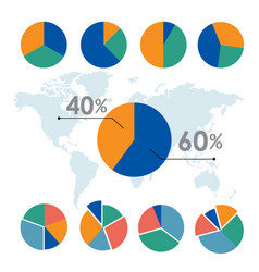 pie charts circle diagram business element vector image