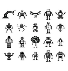 robot icon set simple style vector image