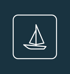 Sail boat outline symbol premium quality isolated vector