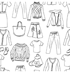 Set of casual woman clothes Seamless pattern vector image vector image