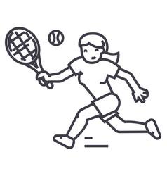 tennis championshipwoman line icon sig vector image