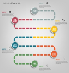 Time line info graphic with colored tortuous vector