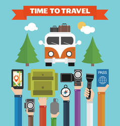 Time to travel modern flat background with hand vector