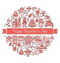 Valentine s Day Round banner vector image