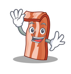 waving bacon character cartoon style vector image vector image