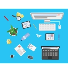 Work place top view vector