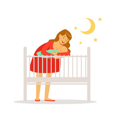 Young mother in red dress putting her newborn baby vector