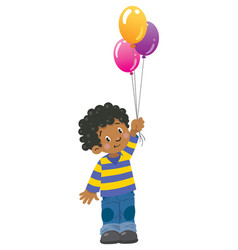 funny little boy with balloons vector image