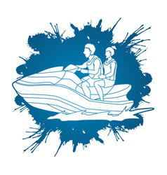 couple riding jet ski vector image