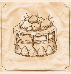 sweet retro cake with strawberries treat for the vector image