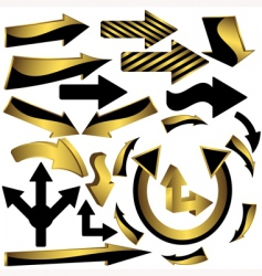 set of gold and black arrow icons vector image
