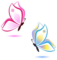 Butterfly beauty concept pink and blue vector