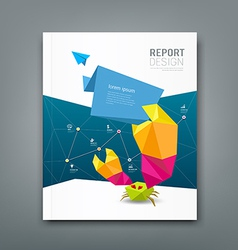 Cover magazine origami paper crab design vector