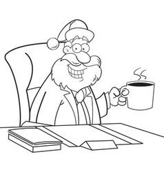 Cartoon santa claus sitting at a desk vector