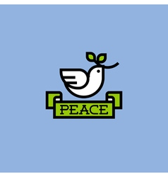 Peace dove with green branch vector image