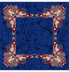 Floral frame ethnic ukrainian ornament on paisley vector