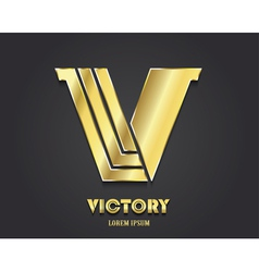 Golden letter v from alphabet symbol of victory vector