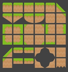 Tileset platformer green ground vector