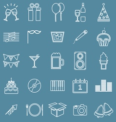 New year line icons on blue background vector