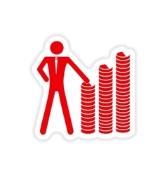Stylish sticker on paper man and stack of coins vector