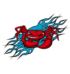 cardinal crab with claws on blue flames for tattoo vector image