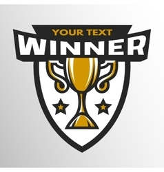 Winner sports trophy emblem badge vector