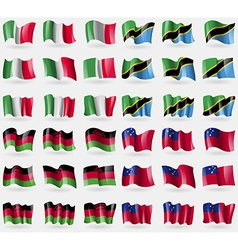 Italy tanzania malawi samoa set of 36 flags of the vector