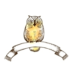 Image of an owl with college ribbon vector