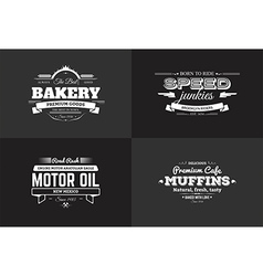 Typography bakery and rider t-shirt design set vector