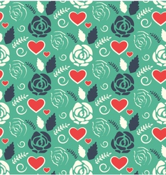 Seamless love abstract pattern with roses flowers vector