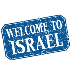 Welcome to israel blue square grunge stamp vector