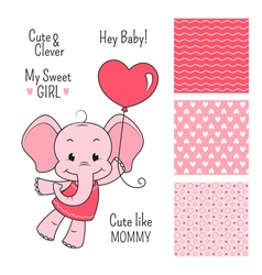 Baby elephant pink design with seamless patterns vector image vector image