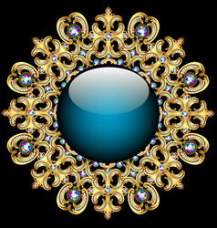 Background round frame made of precious stones vector image vector image