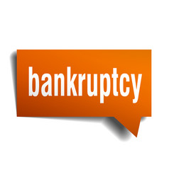 bankruptcy orange speech bubble isolated on white vector image vector image