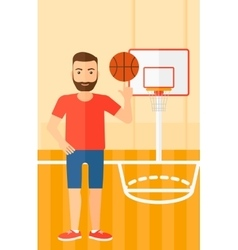 Basketball player spinning ball vector image