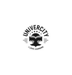 Black and white education emblem on white vector