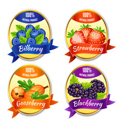 cartoon colorful berries labels set vector image vector image