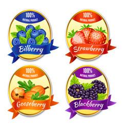 cartoon colorful berries labels set vector image