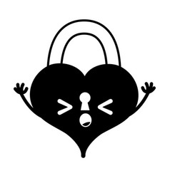 Contour sleeping heart padlock kawaii personage vector