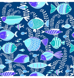 Doodle seamless pattern background with fishes vector image vector image