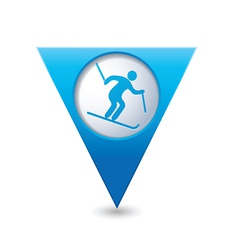 downhill skiing icon on blue triangular map vector image vector image