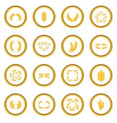 Ear corn icons circle vector